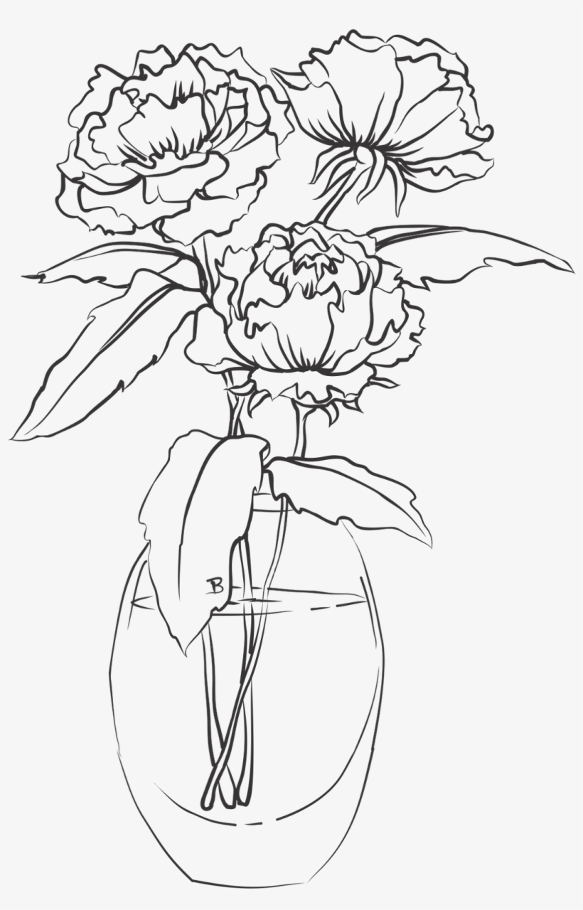 28 Collection Of Single Flower In Vase Drawing - Drawing Of A Flower Vase, transparent png #766981