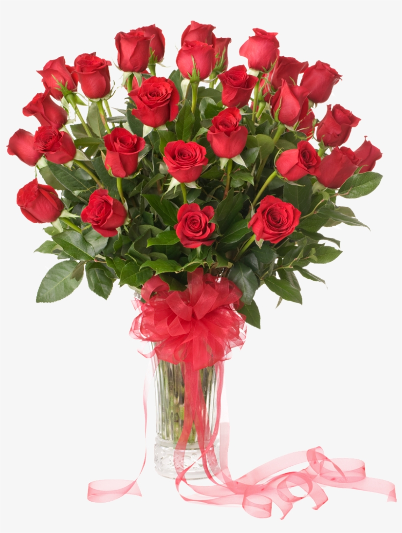 50 Red Roses Vase Pink Lily Flower Bouquet Free Transparent Png Download Pngkey
