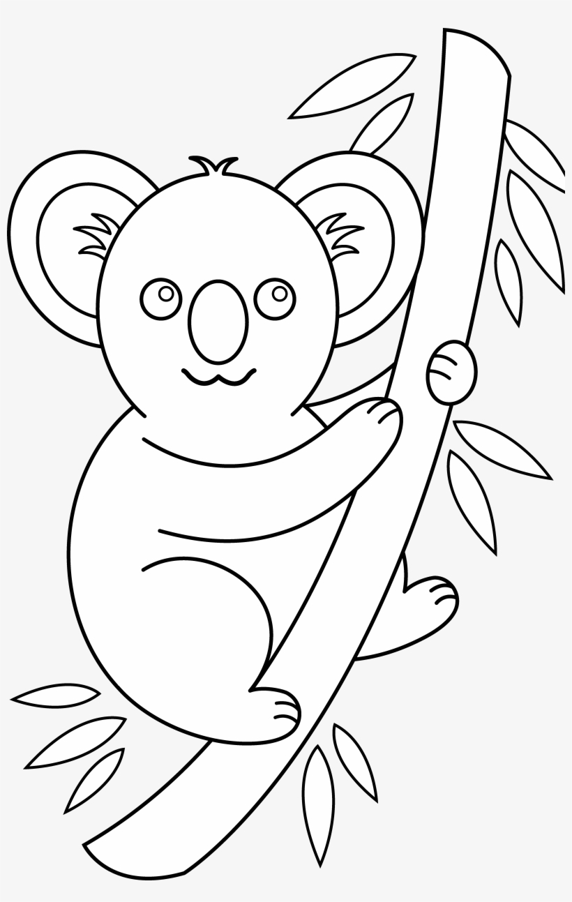 Photos of koala clip art black and white bear cute easy animals to drawing