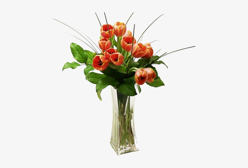 Tulips Arranged In A Vase - Png Orange Flower In Vase, transparent png #767705