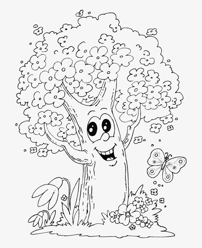 Japanese Cherry Blossom Tree Drawing Sketch Coloring Page (With ... | 1008x820