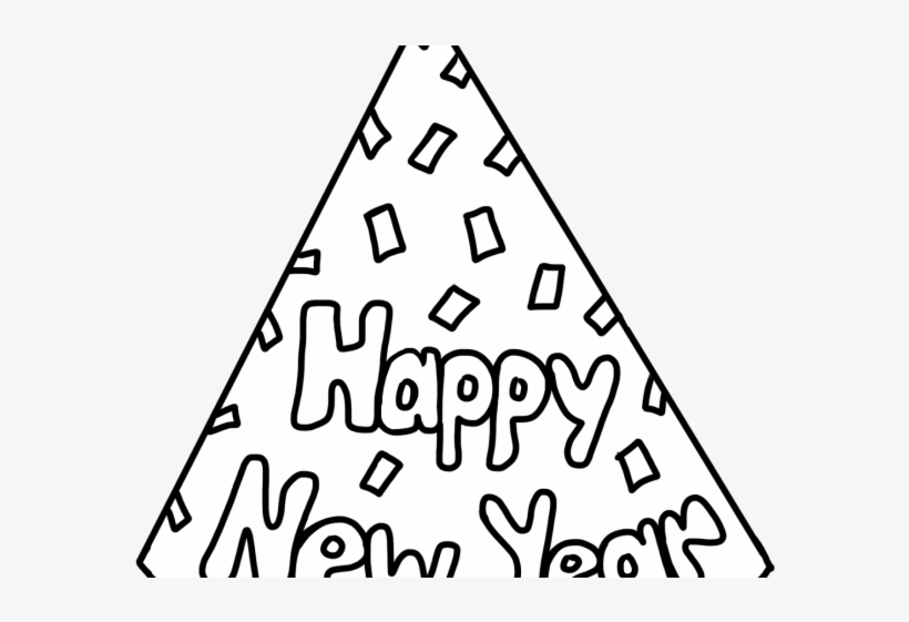 Happy New Year Clipart Hat - Happy New Year 2019 Coloring Page, transparent png #7618775