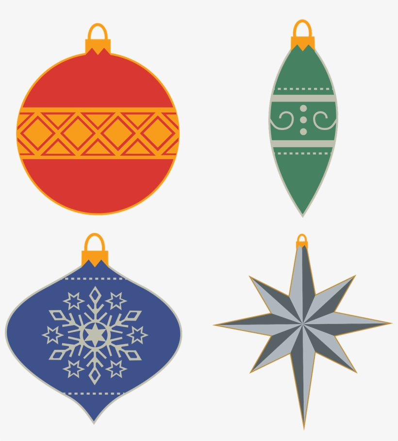 Ornaments,christmas Decoration,free Vector - Christmas Ornaments Illustration Free, transparent png #7626271