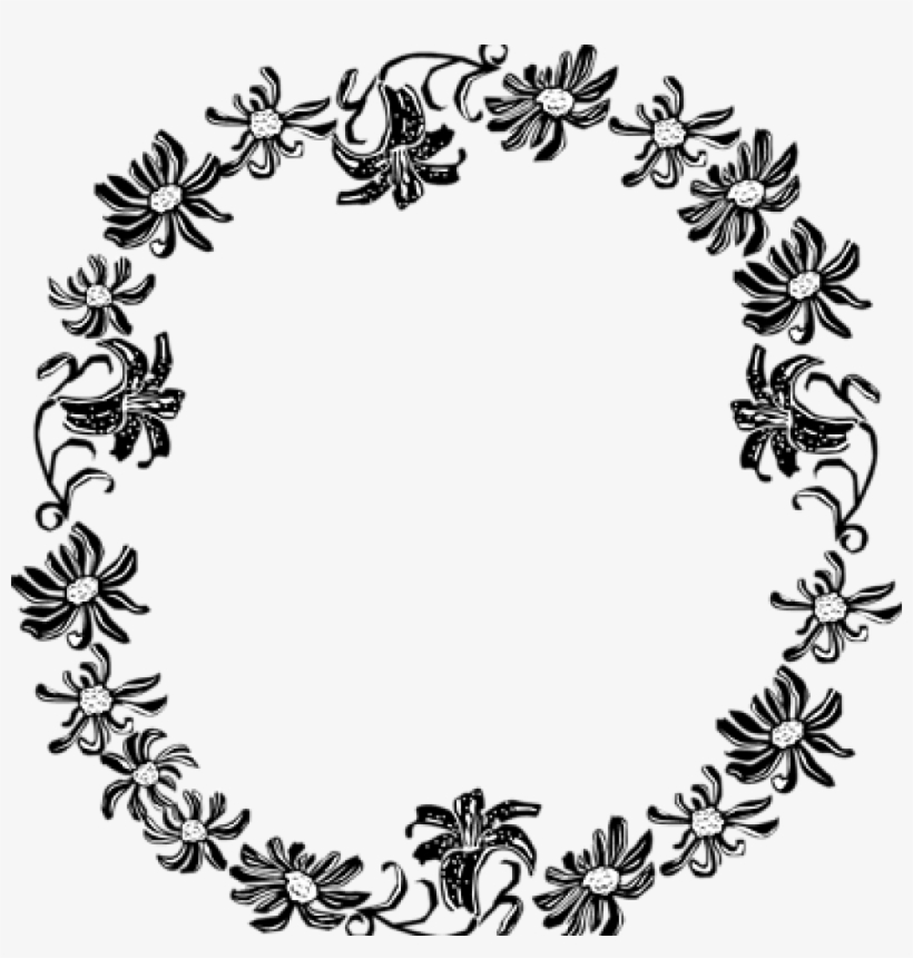 Border Clipart Black And White Black And White Flower