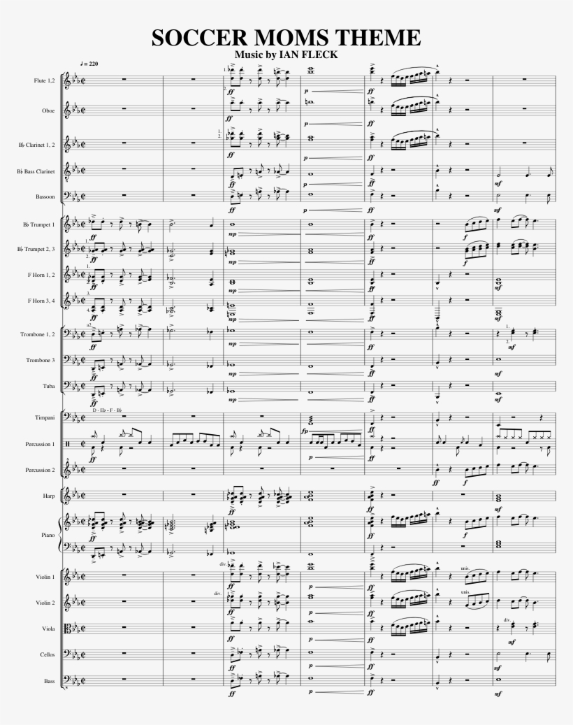 Soccer Moms Theme Sheet Music For Flute, Clarinet, - Music, transparent png #7633891