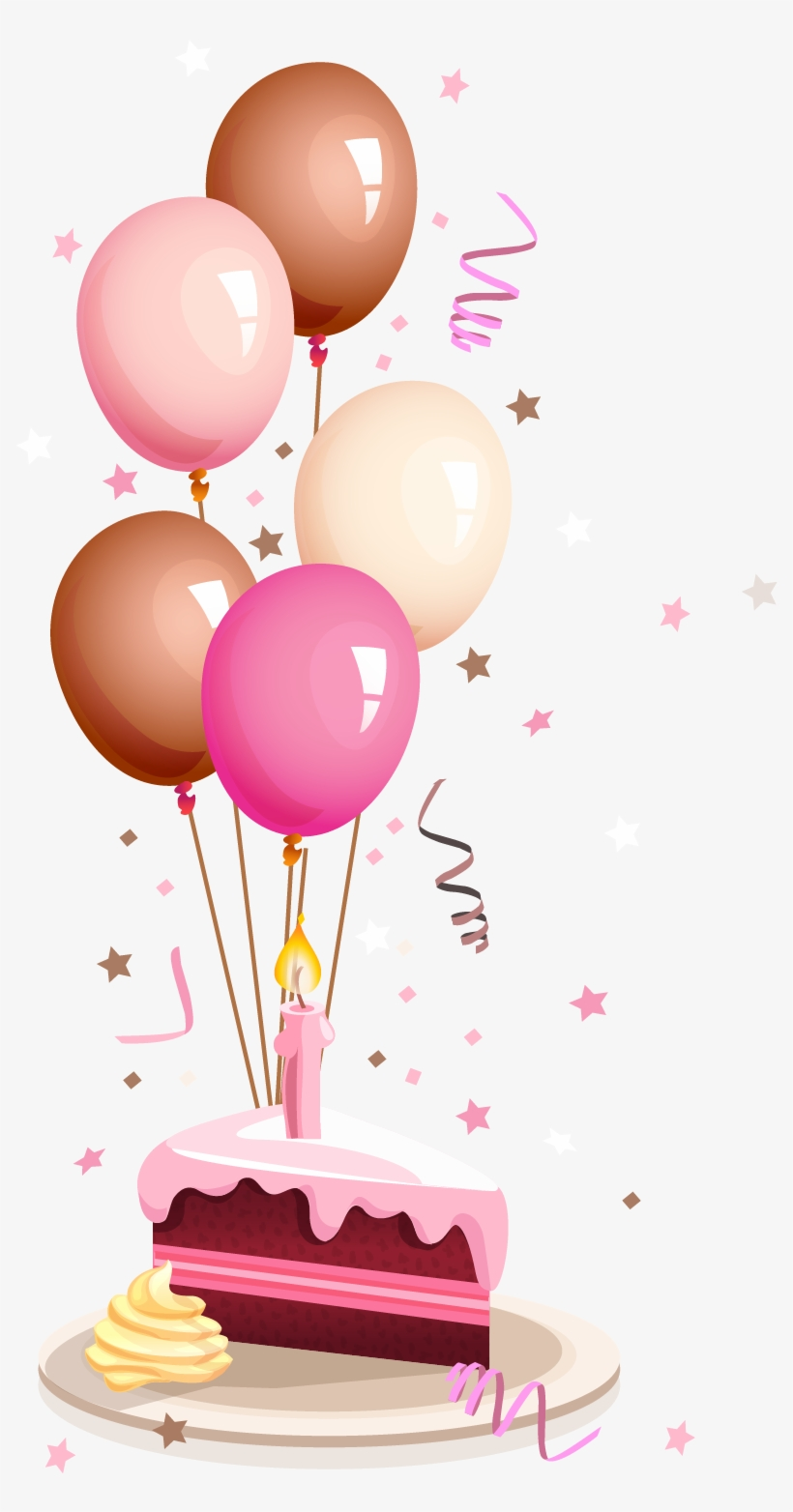 Graphic Royalty Free Download Baloon Vector Cake Balloon - Card Happy Birthday Png, transparent png #7638529