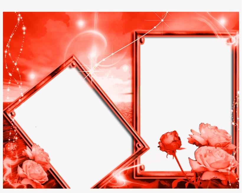 Moldura Para 2 Foto Vermelha, transparent png #7646771