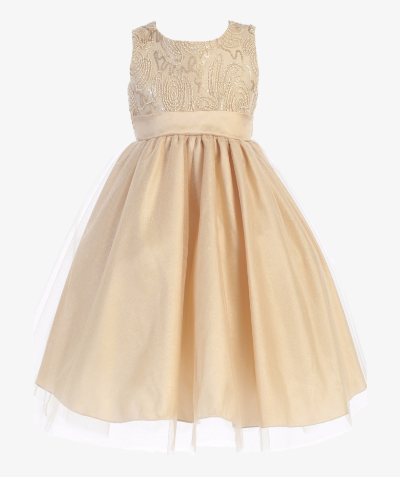 Gold Tulle Overlay Girls Holiday Dress With Sleeveless - Short Champagne Dress For Kids, transparent png #7654898