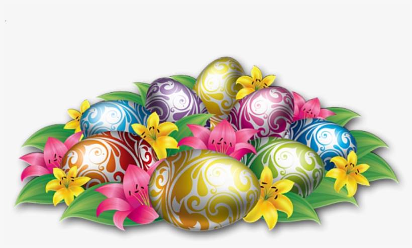 Free Png Large Easter Eggs With Flowers And Grass Png - Background Power Point Bergerak, transparent png #7680128