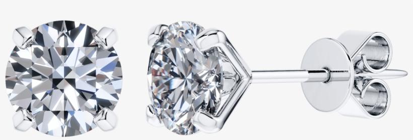 Modern 4 Claw Set Round Solitaire Diamond Studs In - 4 Claw Solitaire Diamond Earring, transparent png #7691322
