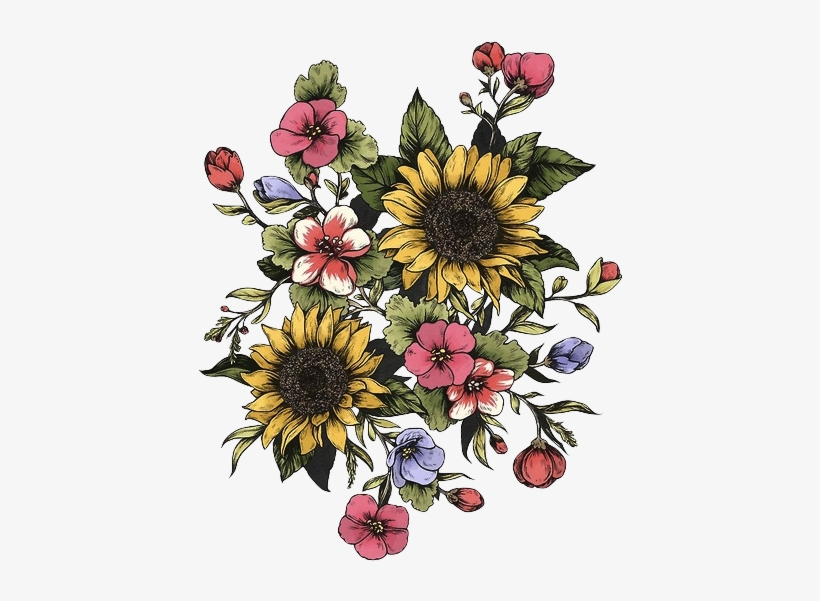 Tattoo Good Sunflower Trees Tumblr Vibes Design Clipart - Vintage Flower Drawing, transparent png #7698455