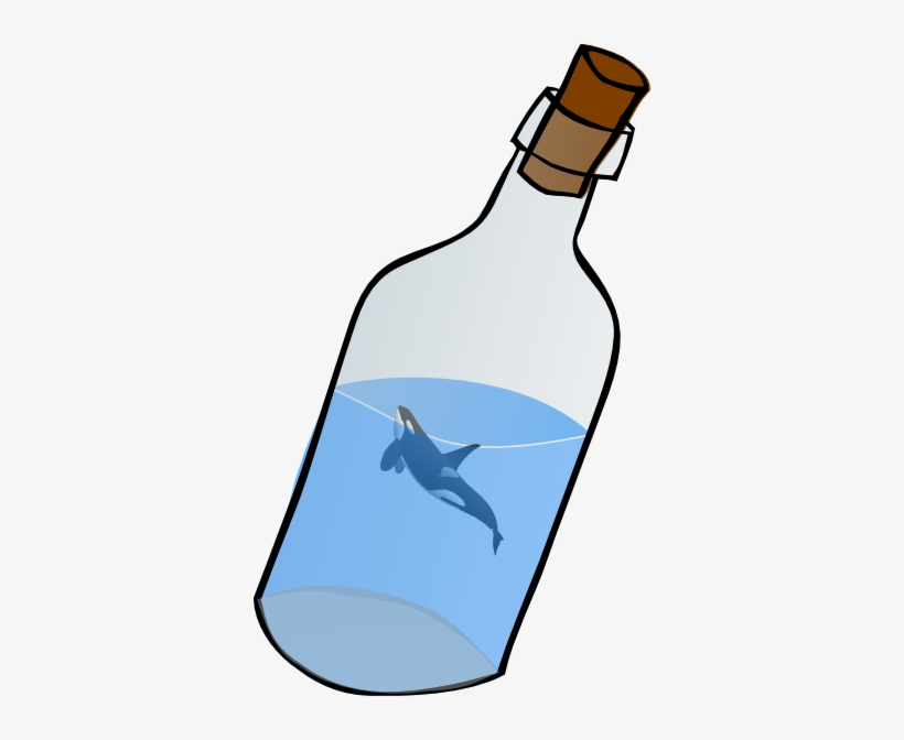 Bottled Glass With Killer Whale Clip Art At Clker - Message In A Bottle Clip Art, transparent png #773244