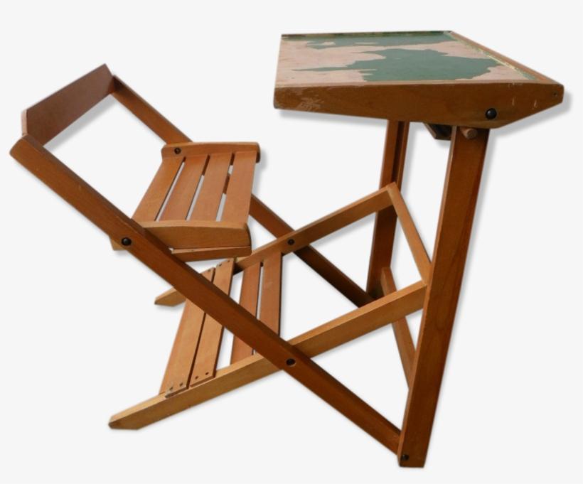 Vintage Folding School Desk And Chair - School, transparent png #774384