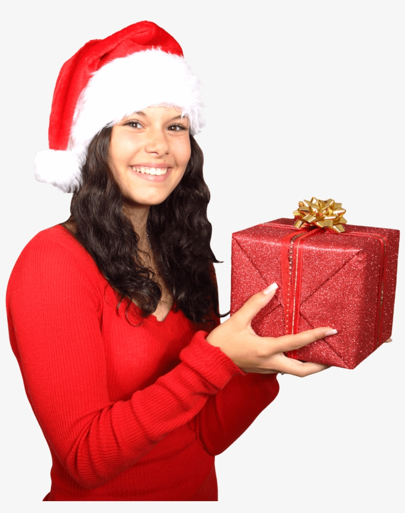 Beautiful Woman Wearing Santa Claus Clothes With Christmas - Santa Claus Girl Png, transparent png #774534