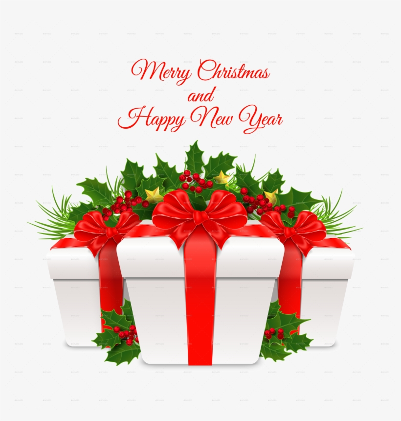 New Year Gift Box With Red Ribbon By Artleska Graphicriver - Happy New Year Box, transparent png #774883