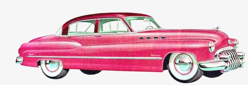Vintage Old Car Artwork Illustrations Buick Dodge Image - Pink Vintage Car Png, transparent png #775948