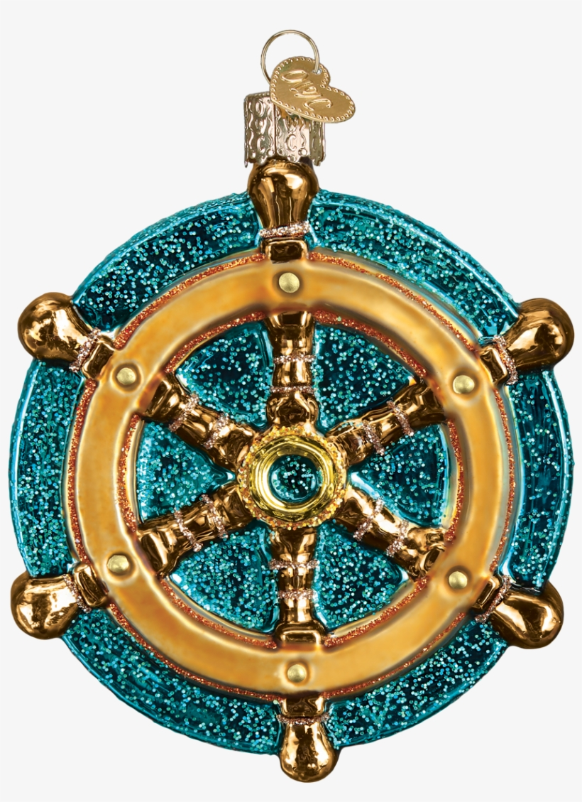 Ship Wheel Nautical Glass Ornament - Old World Christmas Labrador Pup Glass Blown Ornament, transparent png #777069