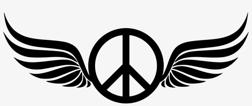 Peace Sign Clipart Silhouette - Peace Sign With Wings, transparent png #777903