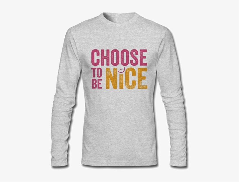 Long Sleeved Grey T Shirt - Long-sleeved T-shirt, transparent png #7705503