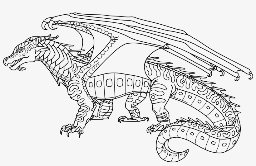 Coloring Page Pony Dragon Wings Wings Of Fire Seawing Base Free Transparent Png Download Pngkey