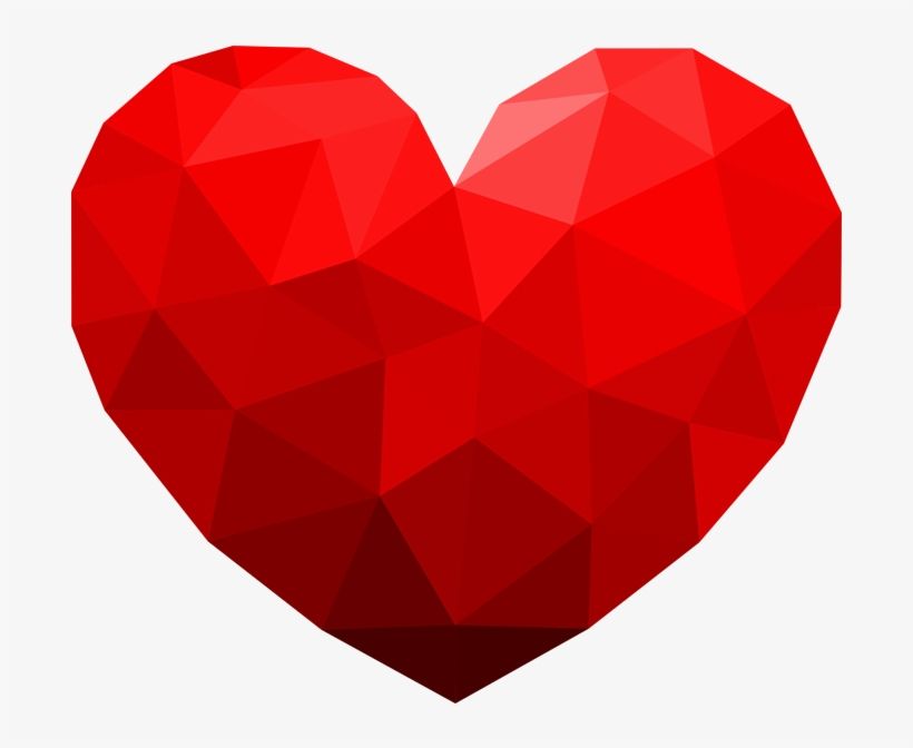 3d Geomatric Heart Png Transparent - Geometric Love Heart, transparent png #7748975