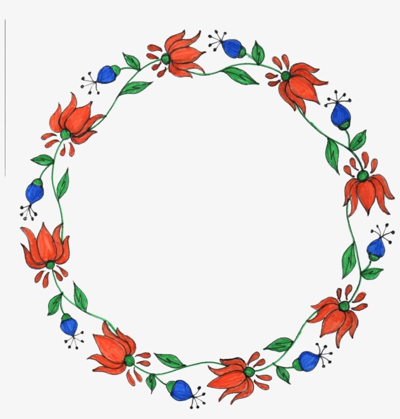 Png File Size - Floral Frame Drawing Circle, transparent png #7756464