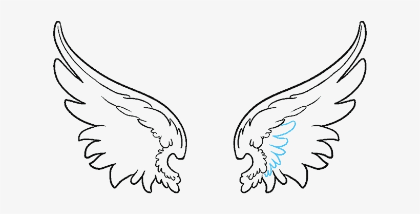 Clip Art Black And White Download How To Draw Angel - Angel Wing Drawing Png, transparent png #7791482