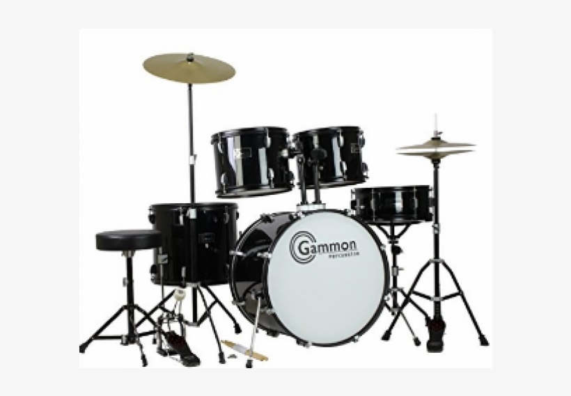 Complete Adult 5 Piece Drum Set With Cymbals Stands - Gammon Percussion Drum Set, transparent png #781329