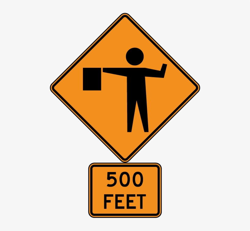 Flagger Ahead Sign, transparent png #783698
