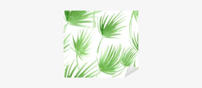 Seamless Pattern With Abstract Light Green Palm Tree - Watercolor Painting, transparent png #784078