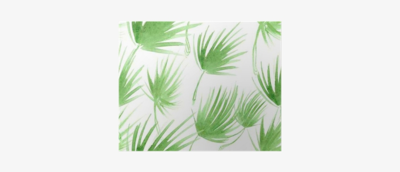 Seamless Pattern With Abstract Light Green Palm Tree - Watercolor Painting, transparent png #784130