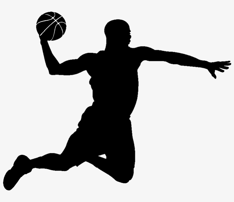 Sticker Basketteur En Plein Vol Ambiance Sticker Si - Basketball Player Silhouette Png, transparent png #784820