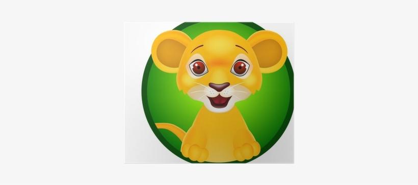 Vector Illustration Of Funny Baby Lion Poster • Pixers® - Bébé Lion Dessin Couleur, transparent png #785296