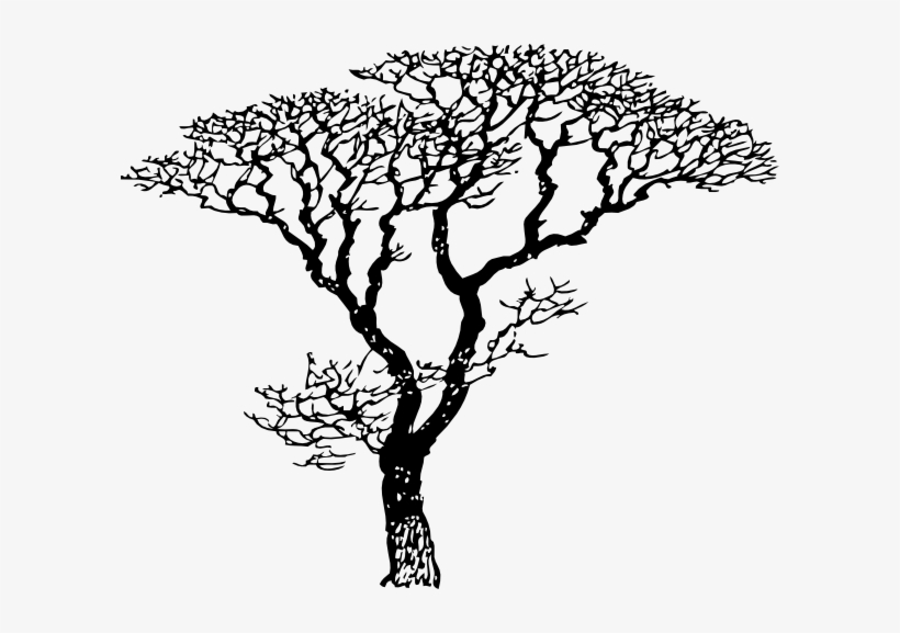 Larger Winter Tree Clip Art - Tree Drawing Black And White, transparent png #785702