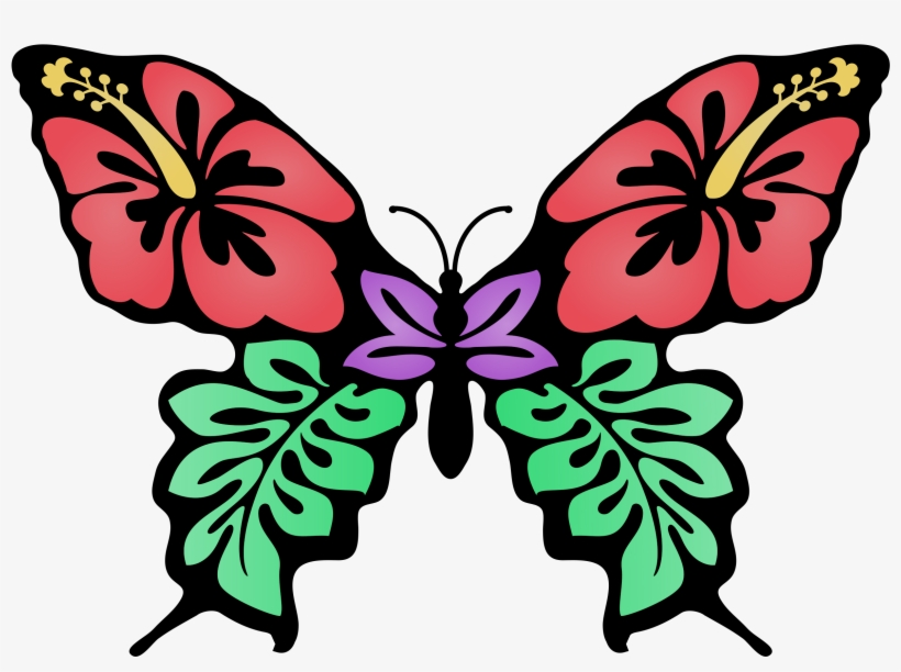 Clip Art Transparent Library At Getdrawings Com Free - Butterflies And Flowers Drawing, transparent png #7804996
