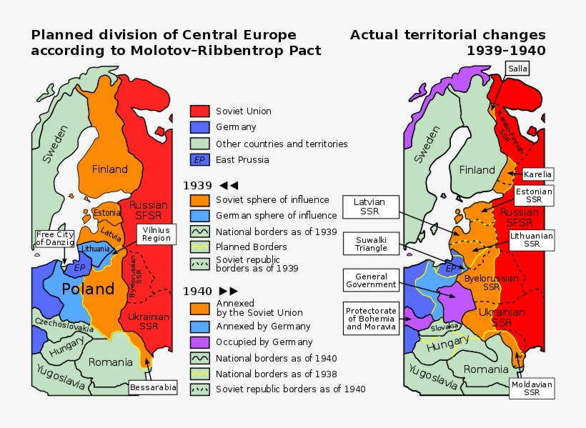 Planned And Actual Territorial Changes In Central Europe - World Map Before And After World War 2, transparent png #7818475