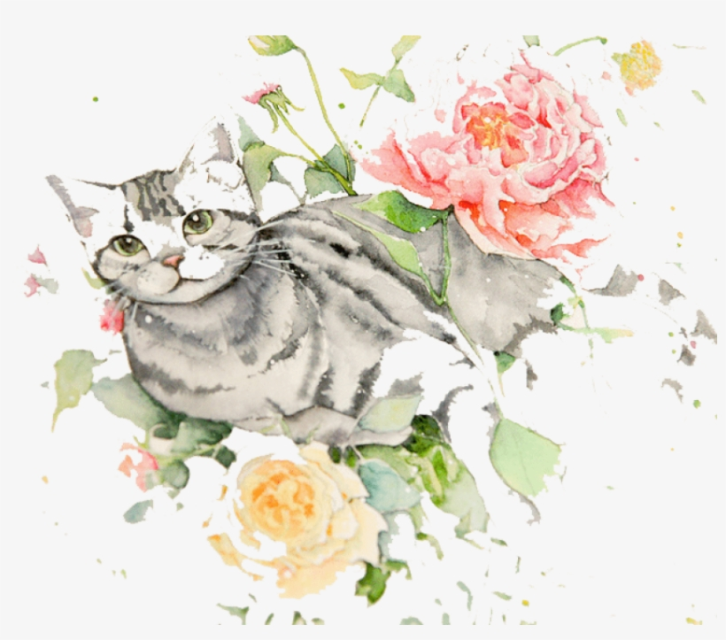 Free Png Download Cat With Flowers Drawing Png Images - Cat And Flowers Drawing, transparent png #7852274