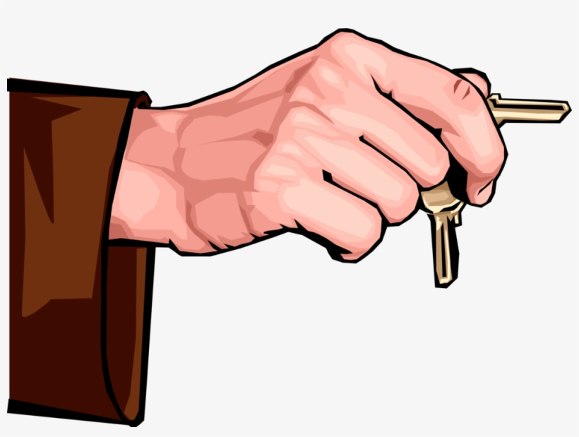Vector Illustration Of Hand Holding Security Keys That - Hand Holding Vector Png, transparent png #7868987