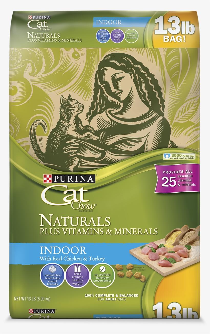 Purina Cat Chow Naturals Indoor Plus Vitamins & Minerals - Purina Cat Chow Naturals, transparent png #7869412