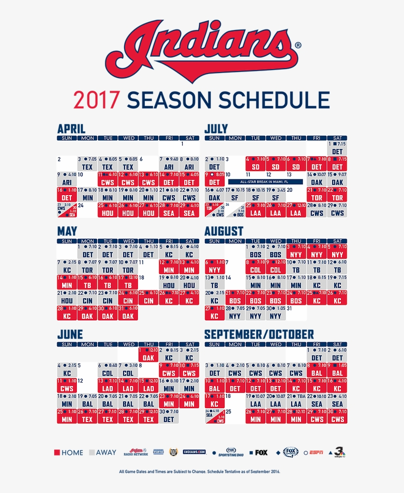 2017 Cleveland Indians Schedule - Cleveland Indians Schedule, transparent png #7881995