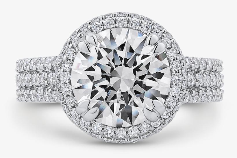 18k White Gold Round Cut Diamond Engagement Ring - Engagement Rings With Round Diamond, transparent png #7887254