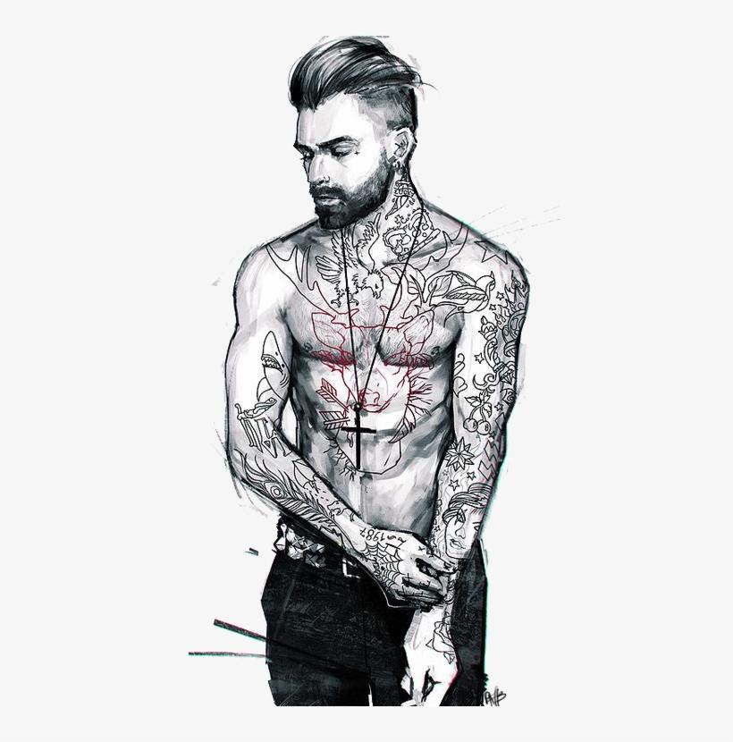Tattoo Cartoon Character Drawing Cool Png Download - Dibujos De Hombres Con Tatuajes, transparent png #7888419