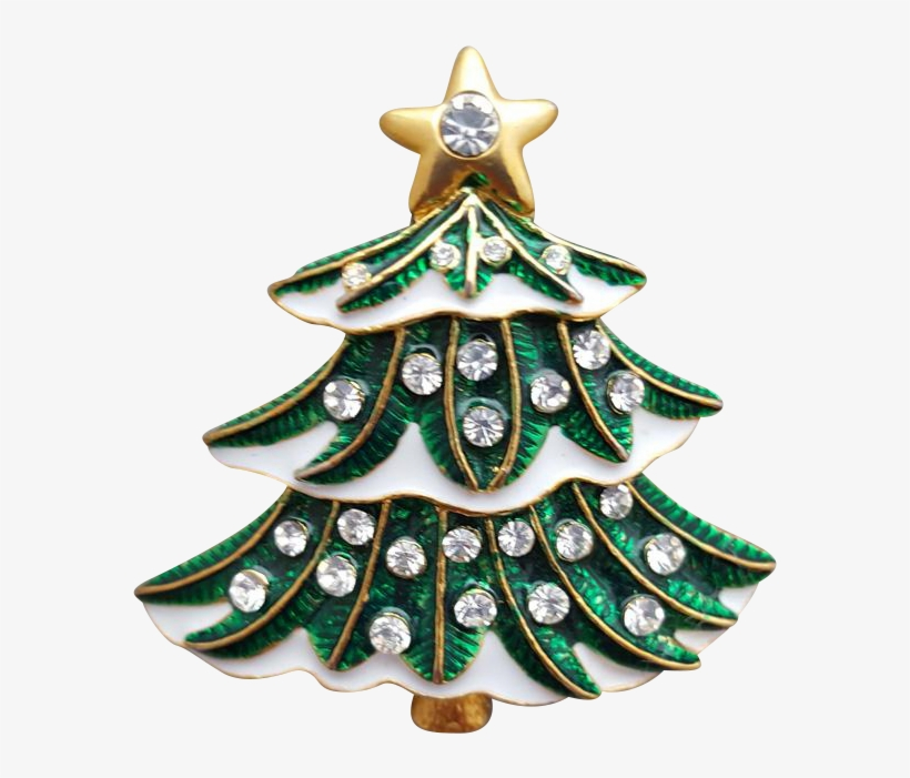 Delightful Christmas Tree Brooch In Green Enamel, With - Christmas Ornament, transparent png #7897412
