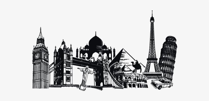 Vinilos Ciudades Y Monumentos Del Mundo Tattos - Maravillas Del Mundo Png, transparent png #790131