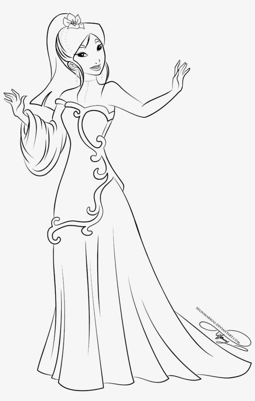 Lineart - Princess Coloring Pages Mermaid Mulan - Free ...