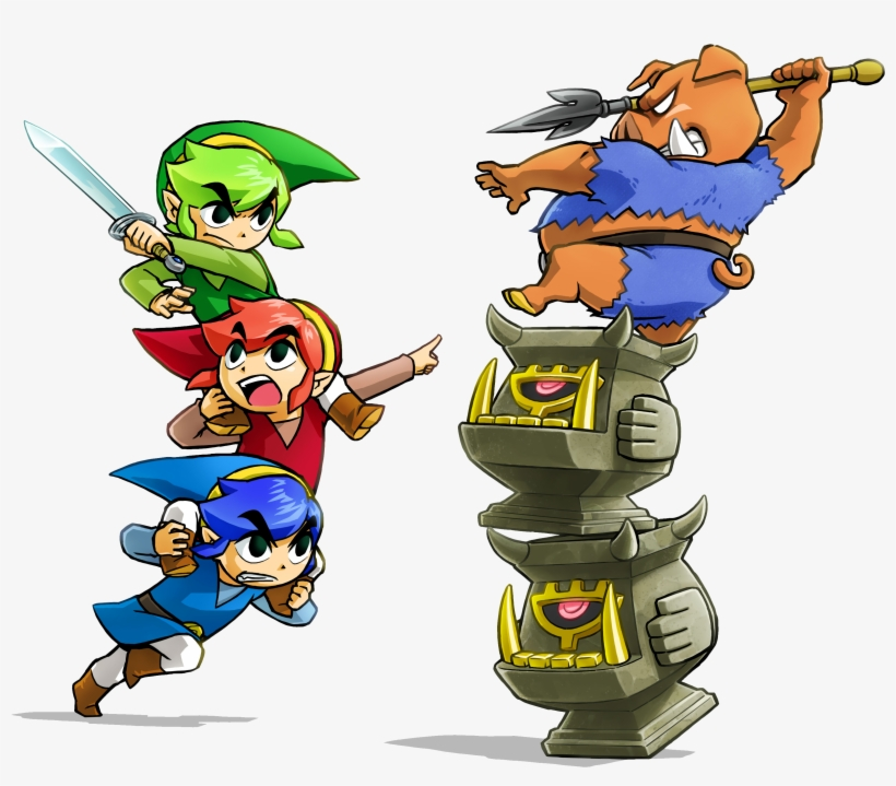 Earlier Stages In A Region Usually Exist So Players - Legend Of Zelda Triforce Heroes Art, transparent png #7962168