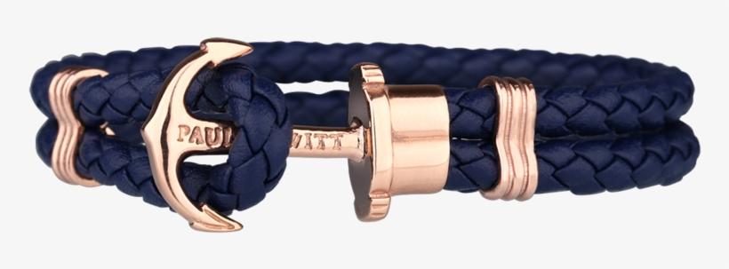 Paul Hewitt Phreps Navy Leather With Rose Gold Anchor - Black Rose Gold Bracelet, transparent png #7968908