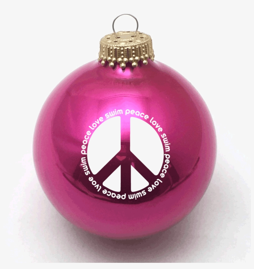 Peace Love Swim Christmas Ornament - Not Colored Christmas Balls, transparent png #7970990