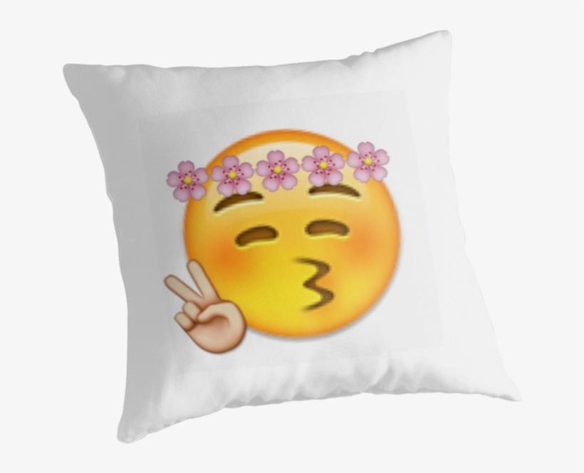 Flower Crown Peace Sign Emoji Throw Pillows Png Peace - Emoji, transparent png #7975134