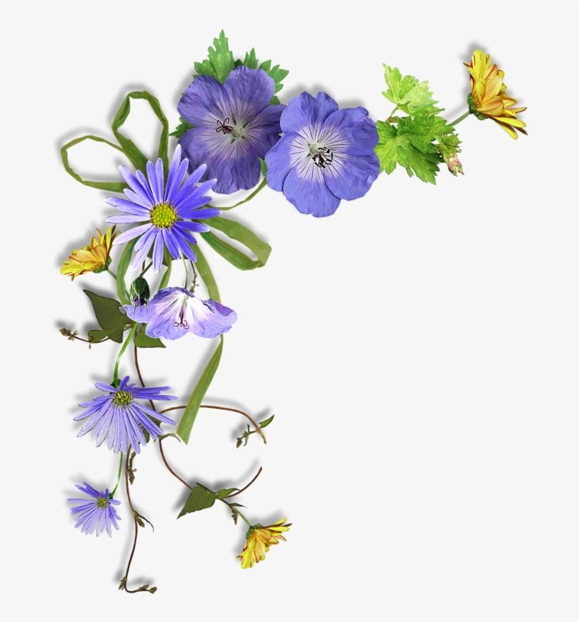 Coins Bordures Photo Corners, Xmas Wreaths, Flower - Purple Flower Corner Png, transparent png #7979618